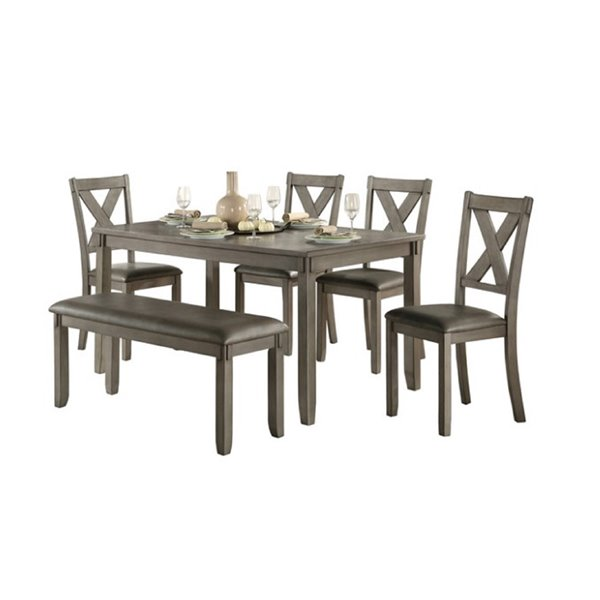 HomeTrend Holders Dining Set with Rectangular Table - Gray - 6-Piece