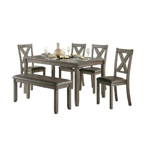 Mazin Industries Holders Dining Set with Rectangular Table - Gray - 6-Piece