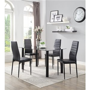Mazin Industries Florian Dining Set with Rectangular Table - Black - 5-Piece