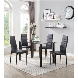 Ensemble de salle à manger Florian de Mazin Industries, rectangulaire, noir, 5 pièces