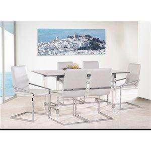 Ensemble de salle à manger Crystalle de Mazin Industries, rectangulaire, clair/blanc, 7 pièces