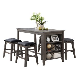 HomeTrend Timbre Dining Set with Rectangular Table - Gray - 5-Piece