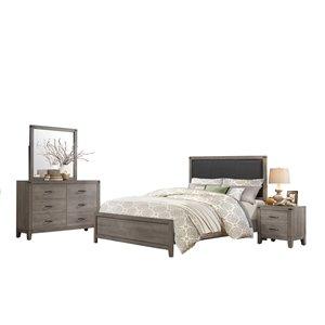 Ensemble de chambre à coucher double Woodrow de HomeTrend, gris, 6 pcs