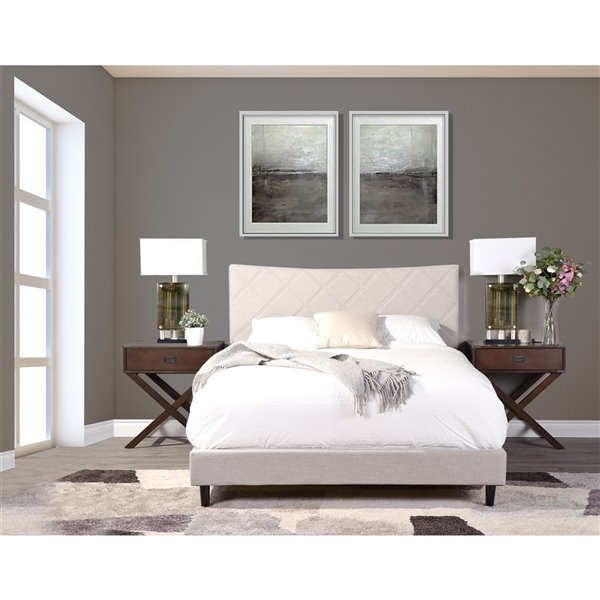 Mazin Industries Rosemary Queen-Size Beige Upholstered Bed
