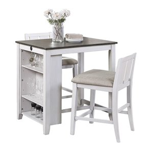 Mazin Industries Daye Dining Set with Rectangular Table - White - 3-Piece