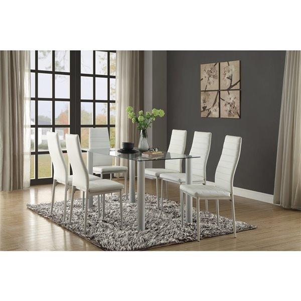 Ensemble de salle à manger Florian de Mazin Industries, rectangulaire, blanc, 4 pièces
