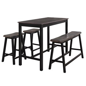 HomeTrend Visby Dining Set with Rectangular Table - Black - 4-Piece