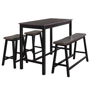 Ensemble de salle à manger Visby de HomeTrend, rectangulaire, noir, 4 pièces
