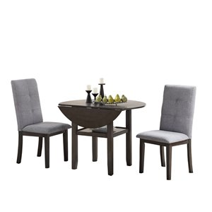 HomeTrend Nisky Dining Set with Round Table - Gray - 3-Piece