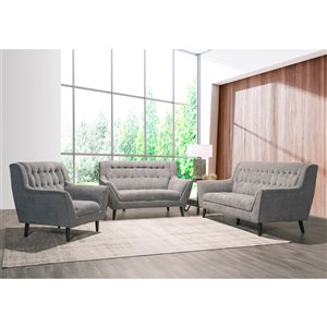 Mazin Industries Erath Contemporary Living Room Set - Gray - 2-Piece