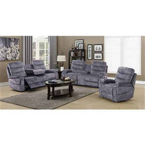 HomeTrend Maurice Contemporary Polyester/Polyester Blend Living Room Set - Gray - 3-Piece