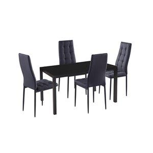 HomeTrend Justina Dining Set with Rectangular Table - Black - 5-Piece