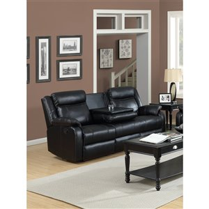 Mazin Industries Duncan Modern Black Faux Leather Sofa