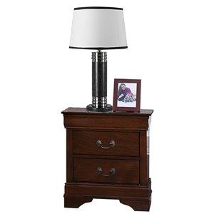 Mazin Industries Mayville Cherry Brown Asian Hardwood Nightstand