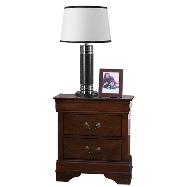 Table de chevet Mayville de HomeTrend, bois franc asiatique, brun cerisier