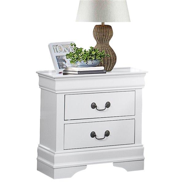 Table de chevet Mayville de HomeTrend, bois franc asiatique, blanc