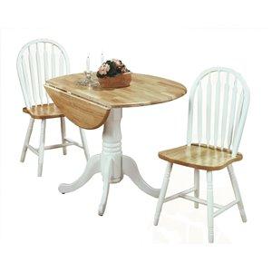 Ensemble de salle à manger Laurentian de Mazin Industries, ronde, blanc, 3 pièces