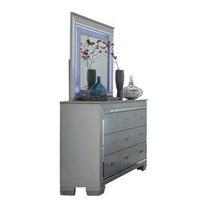 Commode avec miroir Allura de HomeTrend, 9 tiroirs, argent