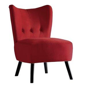 Chaise d'appoint moderne en velours Imani de HomeTrend, rouge vif