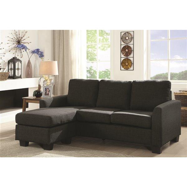 HomeTrend Promytheus Modern Dark Gray Linen Sofa