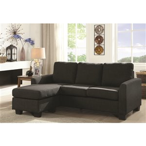 Mazin Industries Promytheus Modern Dark Gray Linen Sofa