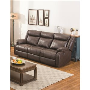 HomeTrend Duncan Modern Brown Faux Leather Sofa
