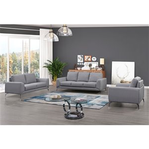HomeTrend Appleby Contemporary Polyester/Polyester Blend Living Room Set - Light Gray - 3-Piece