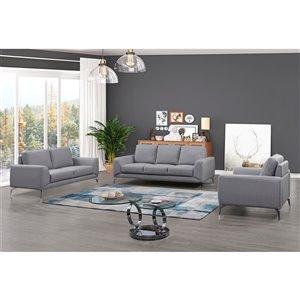 Ensemble de salon contemporain Appleby de HomeTrend, polyester/mélange de polyester, gris clair, 3 mcx