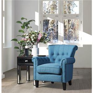 Mazin Industries WInnifred Midcentury Linen Accent Chair - Navy Blue