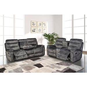 HomeTrend Maurice Contemporary Polyester/Polyester Blend Living Room Set - Gray - 2-Piece