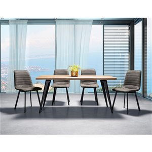 Mazin Industries Ivanhoe Dining Set with Rectangular Table - Gray - 5-Piece