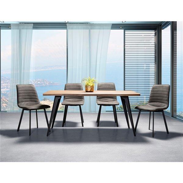 Ensemble de salle à manger Ivanhoe de Mazin Industries, rectangulaire, gris, 5 pièces