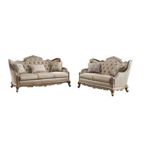 HomeTrend Fiorella Contemporary Polyester/Polyester Blend Living Room Set - Dusky Taupe - 2-Piece