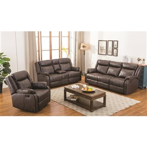 Mazin Industries Duncan Traditional Faux Leather Living Room Set - Brown - 2-Piece
