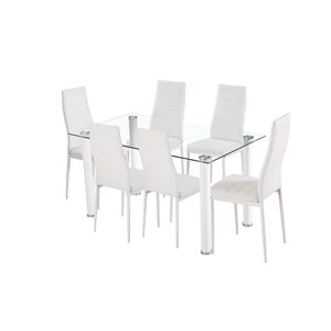 Mazin Industries Florian Dining Set with Rectangular Table - White - 7-Piece