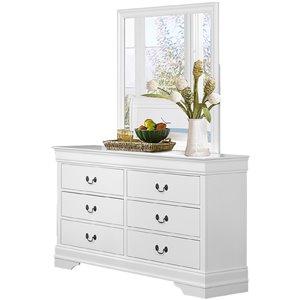 Commode Mayville de HomeTrend, 6 tiroirs, blanc