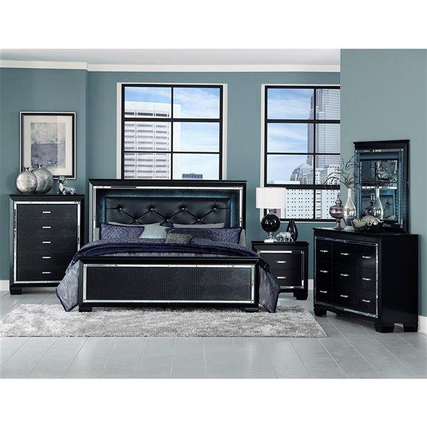 HomeTrend Allura Queen-Size Black Tufted Bed
