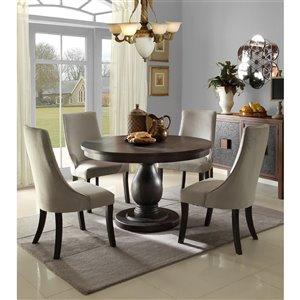 Ensemble de salle à manger The Dandelion de HomeTrend, ronde, marron, 5 pièces