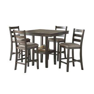 Ensemble de salle à manger Sharon de Mazin Industries, carrée, gris, 5 pièces