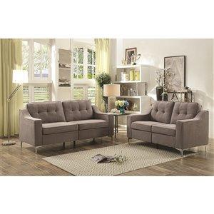 HomeTrend Lilliana Contemporary Microfibre Living Room Set - Medium Gray - 2-Piece