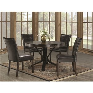 Mazin Industries The Mesa Dining Set with Round Table - Brown - 5-Piece