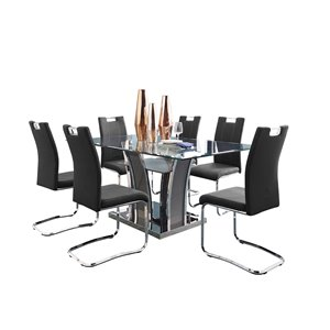 Mazin Industries Betmar Dining Set with Rectangular Table - Gray - 7-Piece