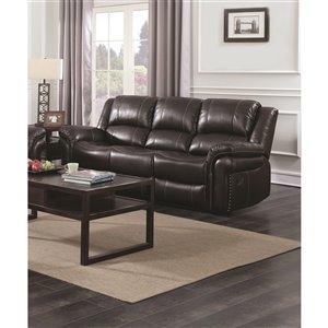 HomeTrend Cora Modern Brown Faux Leather Sofa