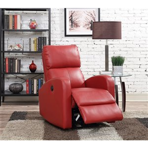 Mazin Industries MacLean Vinyl Powered Recliner - Marron Red