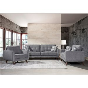 HomeTrend Morrison Contemporary Polyester/Polyester Blend Living Room Set - Gray - 3-Piece