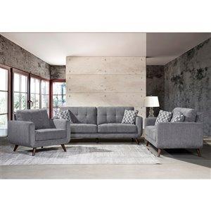 Ensemble de salon contemporain Morrison de HomeTrend, polyester/mélange de polyester, gris, 3 mcx