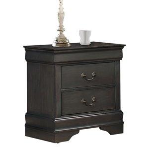Table de chevet Mayville de HomeTrend, bois franc asiatique, gris