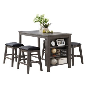 HomeTrend Timbre Dining Set with Rectangular Table - Gray - 3-Piece