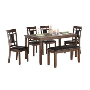 Mazin Industries Salton Dining Set with Rectangular Table - Brown - 6-Piece