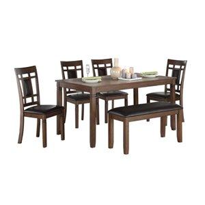 Ensemble de salle à manger Salton de Mazin Industries, rectangulaire, marron, 6 pièces
